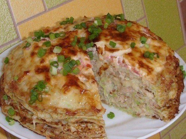 Кабачково-сырный торт с мясом