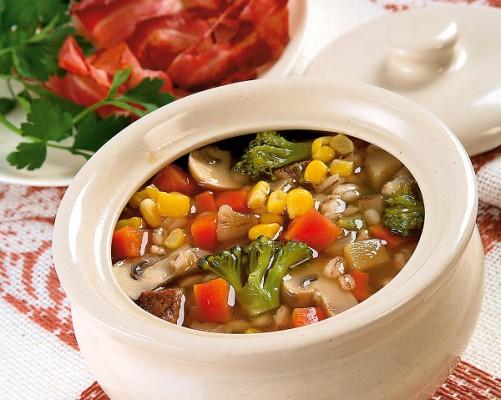 Густой суп с шампиньонами и беконом
