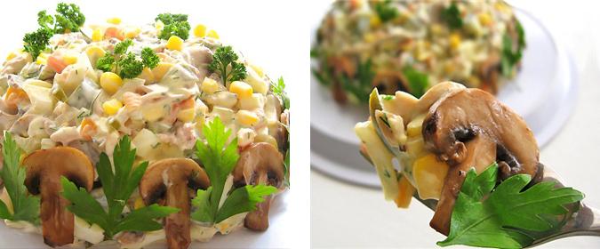 Салат «Осенний» (с курицей, грибами и маринованными огурцами)