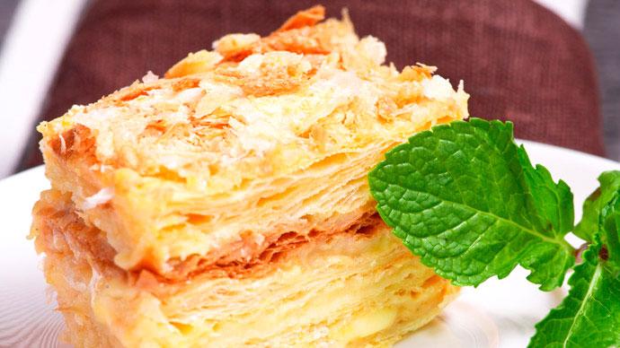 Постный «Наполеон» с апельсиновым кремом