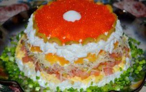 Салат «Жемчужина» (из малосольной семги с апельсином)
