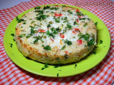 Рисовая запеканка с зелёным луком