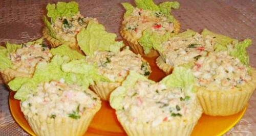 Салат «Крабик» в тарталетках