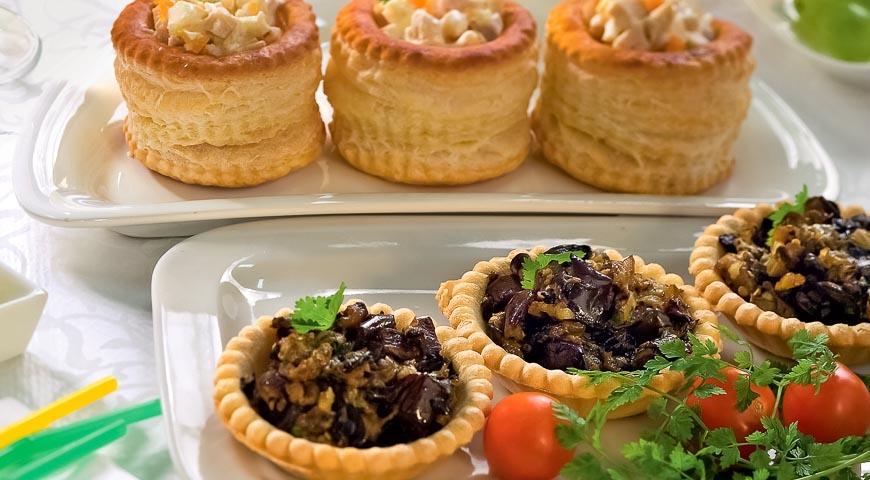 Корзиночки с овощной и куриной начинкой