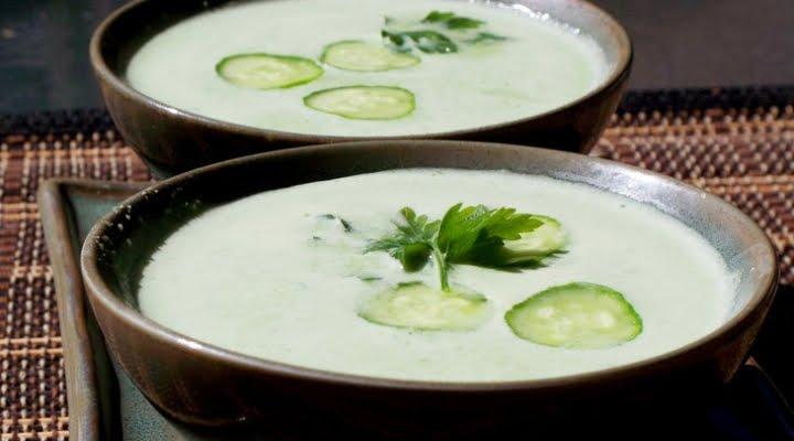 Освежающий суп с огурцами и укропом