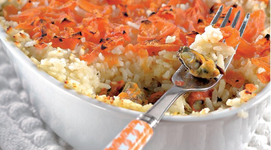 Рис с мидиями запеченный