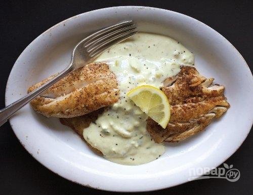 Рыба под соусом «Тартар» в духовке