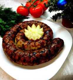 Куриная домашняя колбаса с гречкой и грибами