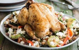 Запеченная курица с овощами и фетой