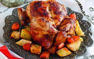 Запеченная курица с приправой из чили и мандаринов