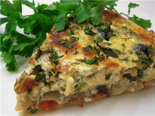 Пирог с баклажанами и осетинским сыром