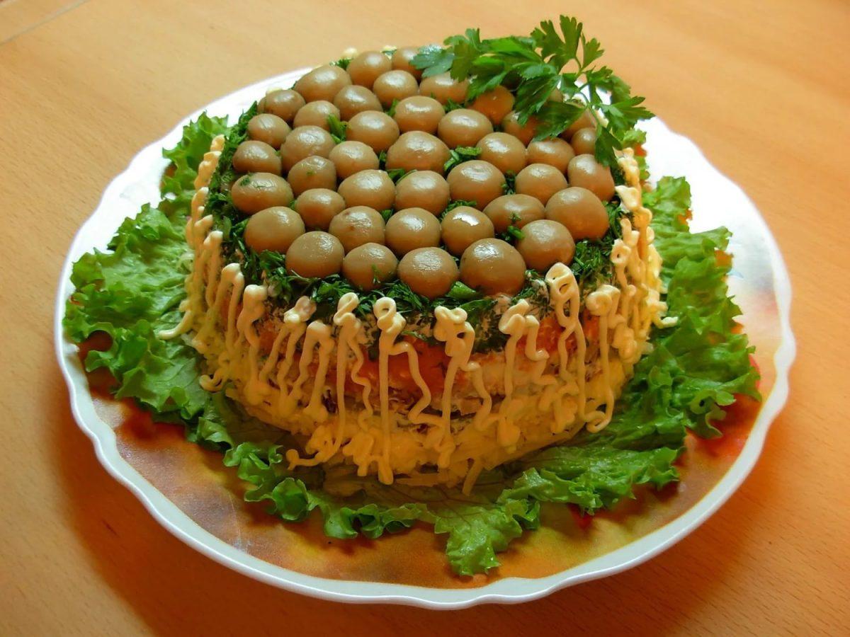 Лесная поляна с ветчиной салат рецепт
