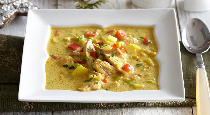 Густой сливочный суп с копченой горбушей