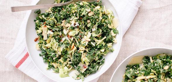 Салат из консервированной белой фасоли и капусты кале