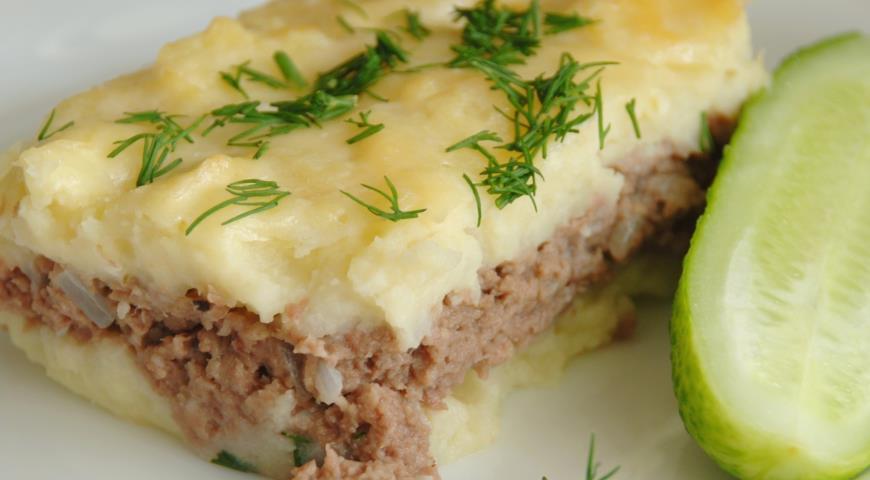 Картофельная запеканка с отварным мясом