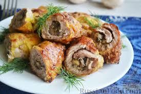 Свиные рулетики с грибами, баклажанами и сыром