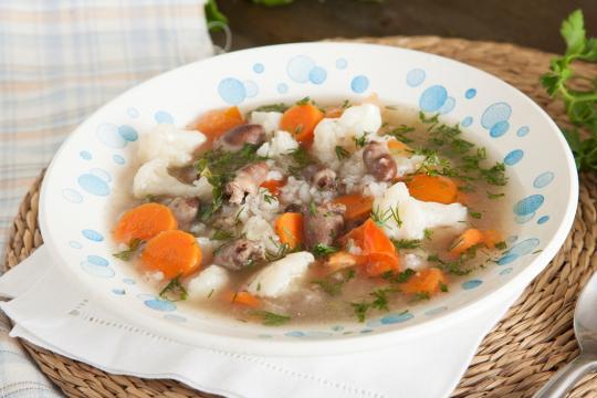 Овощной суп с сердечками