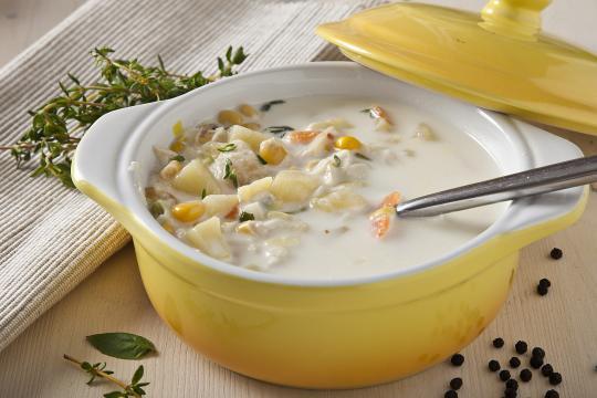 Быстрый суп из трески горячего копчения