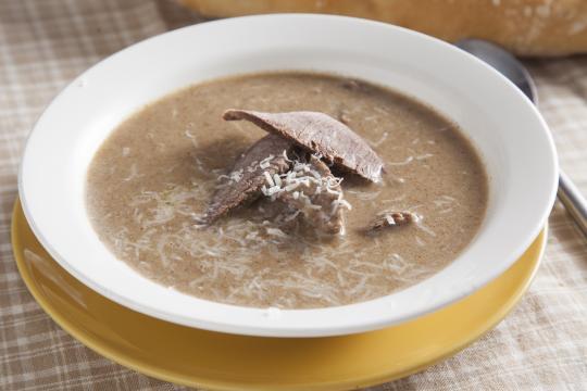 Мясной крем-суп с сыром