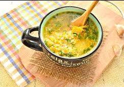 Чесночный суп с пшеном и грибами