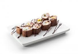 Шоколадные блинные роллы