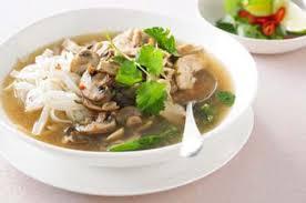 Суп с рисовой лапшой и грибами
