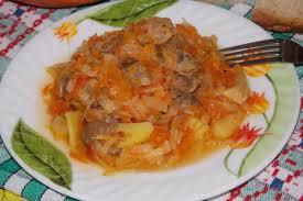 Рагу из перца с куриными желудками