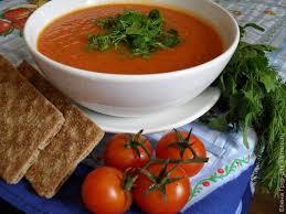 Постный томатный суп с печеной свеклой