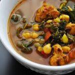 Густой суп с нутом и сардельками