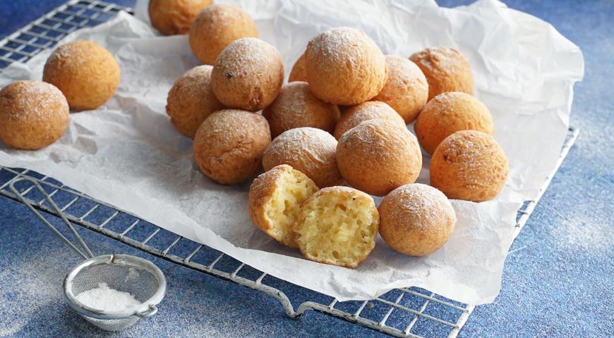 Творожные пончики, жаренные в масле
