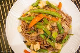 Гречневая лапша с овощами и тофу