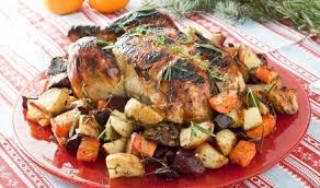 Праздничная курица с овощным гарниром