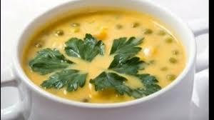 Суп с зелёным горошком и плавленым сыром