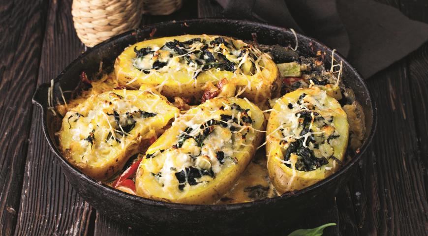 Фаршированный картофель готовим в духовке со сливочным соусом