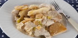 Индейка с репой и яблоками в сливочном соусе