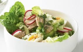 Хрустящий зеленый салат с тунцом
