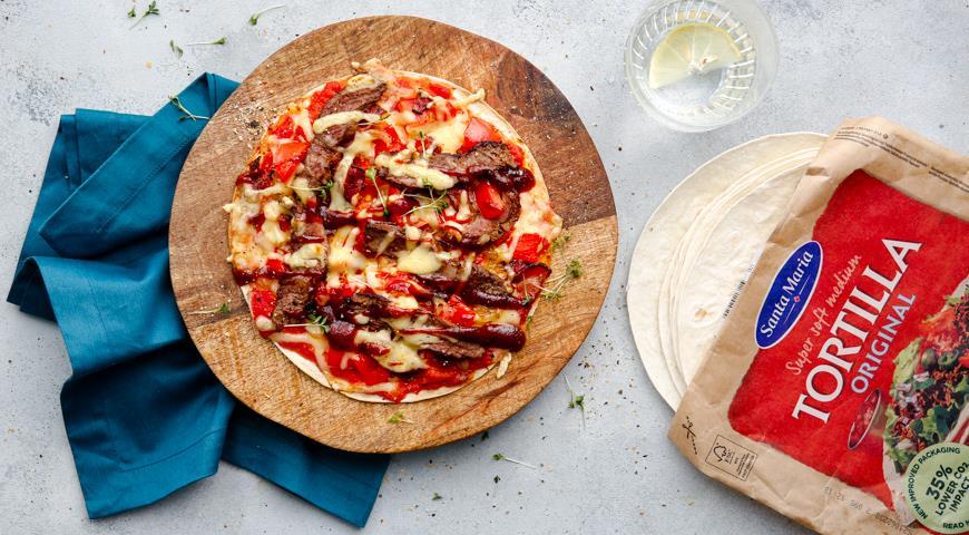 Пицца на пшеничной тортилье в стиле Барбекю