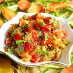 Салат из запеченных баклажанов, помидоров и перца