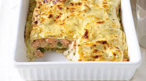 Лазанья с лососем и укропом