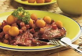 Мясо с картофельными шарами