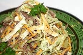 Мясной салат с зеленой редькой